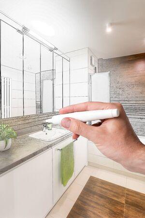 Disegno a mano tra casa. concetti di design. Combinazione schizzi e foto.