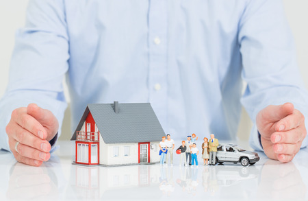 house family: Insurance Home House Live Car Protection Protect People Concepts Stock Photo