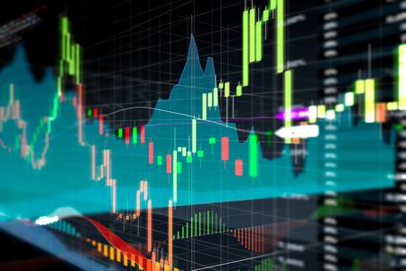 Kandelaar grafiek en grafiek van de beurs investeringen handel. Analyse Forex prijsaanduiding op het computerscherm.