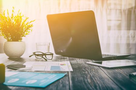 workspace office workplace background business design desk laptop - stock image Standard-Bild