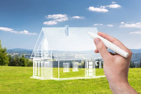 Hand drawing home. Designer concepts. Combination sketching and photo. Stock Photo