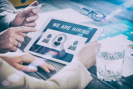 recruit: recruitment hiring recruiting recruit hr job creative wanted team announce - stock image Stock Photo