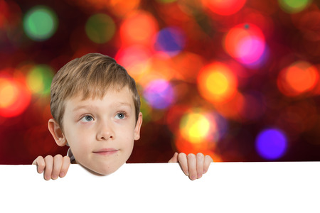 little boy with empty space - bokeh background Stock Photo