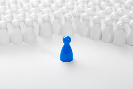 business leadership: Leadership business concept with pawns.