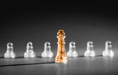 the boss: Chess business success, leadership concept.