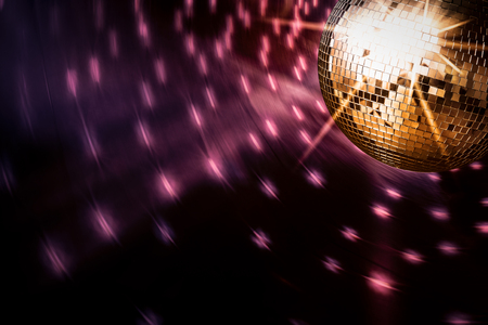golden ball: disco ball background space backdrop light discoball nightclub design graphic concept - stock image