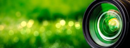 Cameralens met lens reflecties. Stockfoto