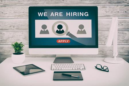 recruit: recruitment hiring recruiting recruit hr job designer design creative wanted team announce - stock image Stock Photo