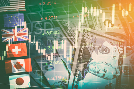 Forex Markets Currency Trading Global Economy Concept. United Kingdon Pund, European Euro, American and Canadian Dollar, Japanese Yen Currency Stock Photo