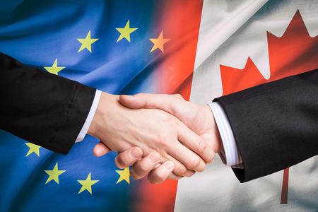 캐나다 캐나다 파트너 유럽 연합 유로 eu 권리 미국 ceta 플래그 협상 유로파 무역 ttip 경제 개념 - 재고 이미지