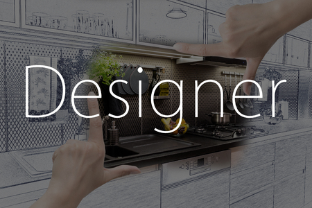 framing: Female hands framing custom kitchen design. Combination drawing and photo. Stock Photo