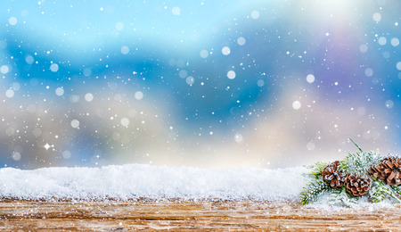 cold season: snow background light floor cold empty blue wooden space white table xmas fir plank landscape season wood card january frost falling concept - stock image