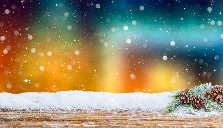 wintry landscape: snow winter background wooden evening night light abstract wintertime snowfall cold snowy table icy white cloud wintry countryside scenes snowdrift morning floor calm spotlight concept - stock image Stock Photo