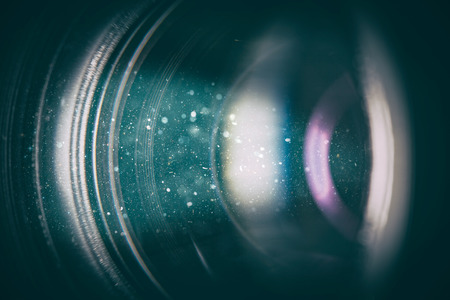 flare lens camera background macro light flash real bright film focus performance dust black optical color glowing concept - stock image Stock Photo