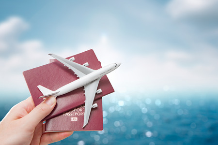 pass on: airplane passport flight travel traveller fly travelling citizenship air concept - stock image