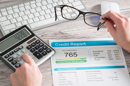 borrowing: report credit score banking borrowing application risk form document loan business market concept - stock image Stock Photo