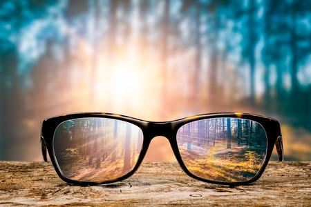 メガネ フォーカス背景木の目をビジョン レンズ眼鏡自然反射見て明確な参照を通して見る光景コンセプト透明日の出処方日没ヴィンテージ日当たり