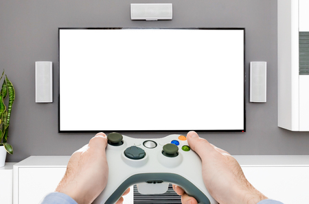 gaming game play tv gamer station mockup gamepad player controller video console concept - stock image
