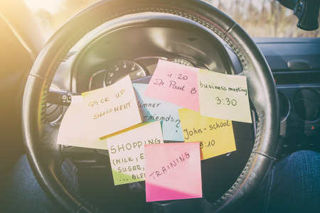 busy work do post notes list chaotic stress errands multitask overloaded concept - stock image Stock Photo - 73188618
