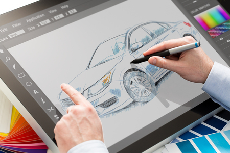 creativeness: designer graphic drawing car creative creativity draw work tablet screen sketch designing coloring concept - stock image