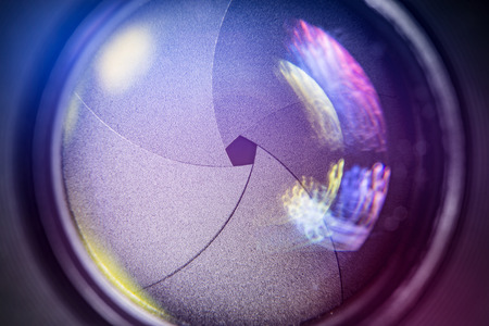 camera focus film video glass lens old manual f dslr photo focal aperture sunlight photography photograph macro glow movie concept - stock image