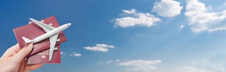 パスポート飛行機旅行旅行フライ旅行市民権空気コンセプト - ストック イメージ