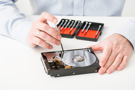 data hard drive backup disc hdd disk restoration restore recovery engineer work tool virus access file fixing failed profession engineering maintenance repairman technology concept - stock image