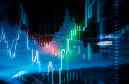 Candle stick graph and bar chart of stock market investment trading. Analysis Forex price display on computer screen. Stock Photo