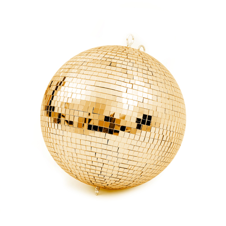 discoball: ball disco gold mirror discoball golden glitter white concept - stock image