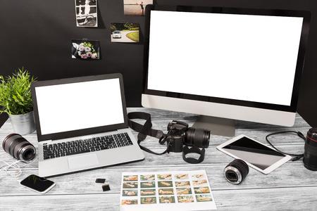 working on computer: mockup design monitor working desk white space designer screen desktop nobody table concept - stock image Stock Photo