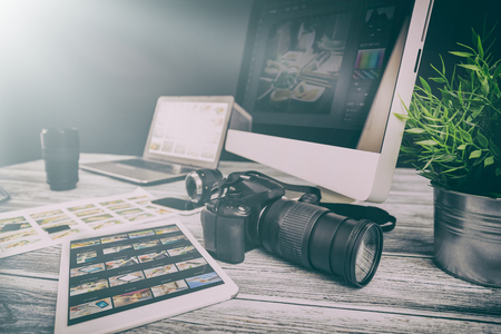 photographer journalist camera photo dslr editing edit designer photography teamwork team memories lighting shooting commercial contemporary shoot objects objective concept - stock image
