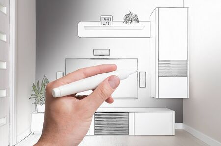 interior home: Hand drawing interior home. Designer concepts. Combination sketching and photo.