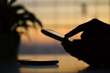 hand presses on screen digital tablet Stock Photo