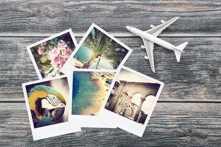 写真の飛行機旅行ビュー旅行写真アルバム インスタント背景トップ ノスタルジア コレクション コンセプト - ストック イメージ 写真素材