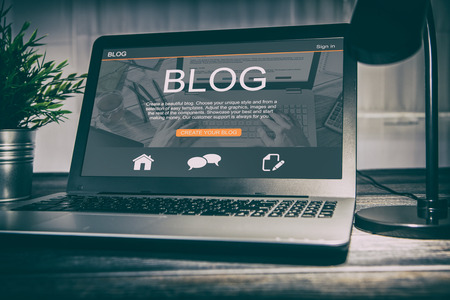 blogging blog word coder coding using laptop page keyboard notebook blogger internet computer marketing opinion interface layout design designer concept - stock image 写真素材