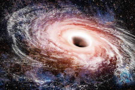 Trou noir espace façon fiction hydrogène nébuleuse galaxie blanche terre nuage cosmique atmosphère explosion météorite étoile profonde Banque d'images - 73650748