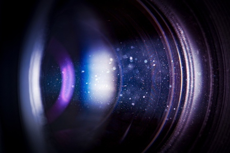 bright light: flare lens camera background macro light flash real bright film focus performance dust black optical color glowing concept - stock image Stock Photo