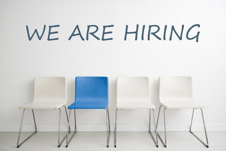 recursos trabajo Empleo Empleo Empleo contratación talento diseño alquiler silla silla minimalismo Sentado en blanco el espacio Headhunting concepto -