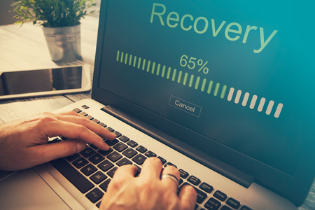 data recovery: data backup restoration recovery restore browsing plan network corporate networking reserve business concept - stock image