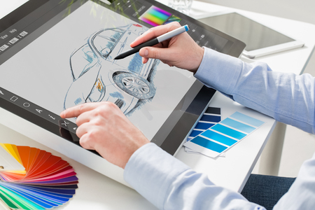 designer graphic drawing car creative creativity draw work tablet screen sketch designing coloring concept - stock image