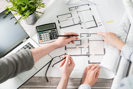 creative planning: interior design designer planning architecture drawing architect business plan construction sketch concept house illustration creative concept - stock image