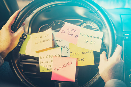 errands: busy work do post notes list chaotic stress errands multitask overloaded concept - stock image