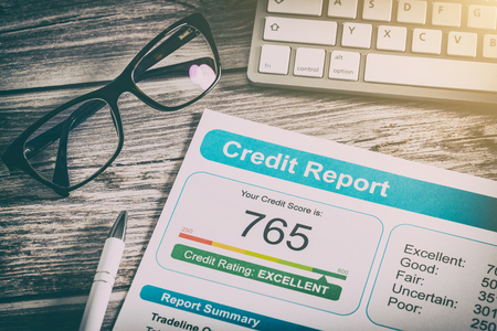 report credit score banking borrowing application risk form document loan business market concept - stock image Stock Photo