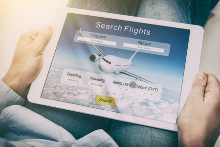 online: booking flight travel traveler search ticket reservation holiday air book research plan job space technology startup service professional now marketing equipment concept - stock image