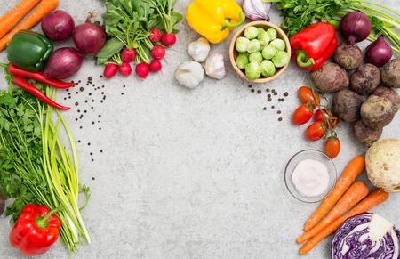 食品背景料理成分キッチン コンセプト食事ベジタリアン野菜健康トップ ビュー スペース ボード テーブル空白茶色のコンセプト - ストック イメー