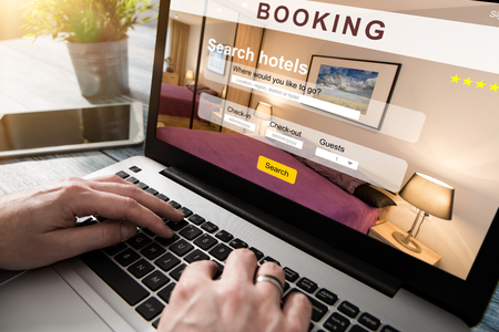 booking hotel travel traveler search business reservation holiday book research plan tourism concept - stock image Archivio Fotografico