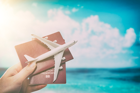 airplane passport flight travel traveller fly travelling citizenship air concept - stock image