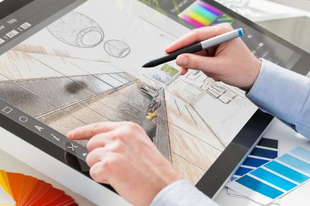 creative artist: designer graphic drawing interior creative creativity draw work tablet screen sketch designing design artist color concept - stock image Stock Photo