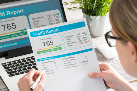 report credit score banking borrowing application risk form document loan business market concept - stock image Archivio Fotografico