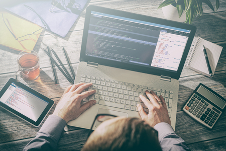 coding code program programming developer compute web development coder work design software closeup desk write workstation key password theft hacking firewall concept - stock image Banco de Imagens